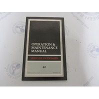 90-812810921 Mercury Outboard Operation & Maintenance Manual 40 HP