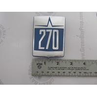 873524 Volvo Penta Aquamatic Stern Drive 270 Decal Plate