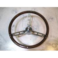 """Vintage Marine Boat Steering Wheel 13 3/4"""" Stainless Steel Faux Wood"""