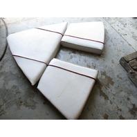 1988 Bayliner Capri Boat White Bow Seat Cushions Red Stripe