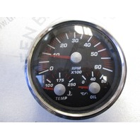GT0051A Faria Black & Red 6K RMP Adjustable Tachometer w/ Temp and Oil Gauge