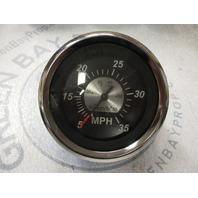 "67283F New Marine Boat Speedometer Speedo 3 1/4"" Black/Silver 35 MPH"