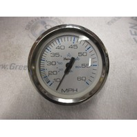SE9559B Faria Marine Dash Speedo Speedometer 60 MPH White/Silver Threaded Pitot