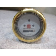 "Marine Boat VDO Engine Hour Meter Gauge 2"" White Face Gold Bezel"