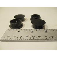 "Round Locking Rigid Plastic Hole Plug Fit 1"" Opening - Black Nylon Set of 4"