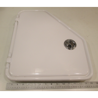 White Angled Plastic Marine Access Door Non-Locking Starboard Side