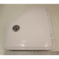 White Angled Plastic Marine Access Door Non-Locking Port Side