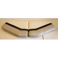 1996 Bayliner Capri  Rear Seat Cushion White Blue Grey Set (2)