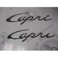 Bayliner Capri Silver Script Emblem Logo Raised Name Plates Set of 2
