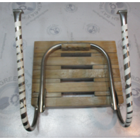 "Marine Boat Teak Swim Platform 17 5/8"" x 13 7/8"" with 1 Step Folding Ladder"