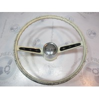 "Vintage Ride Guide Boat Steering Wheel Square Shaft 16"" White 2 Spoke Aluminum"