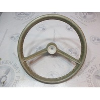 "Vintage '69 OMC Evinrude Johnson Marine 14 3/4"" Steering Wheel 19 Spline 2 Spoke"