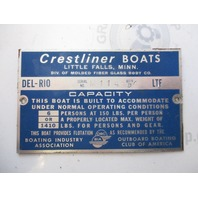 Vintage Capacity Plate for Crestliner Del-Rio Boat BIA and OBC of America