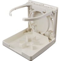 2449-7 BOAT DUAL RING DRINK HOLDER - FOLD UP, White