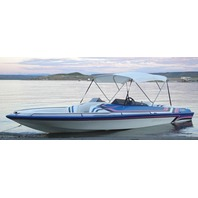 "3 BOW BIMINI TOP FABRIC W/BOOT FOR 46""HIGH FRAME, WHITE VINYL-6'L x 46""H x 79-84""W"