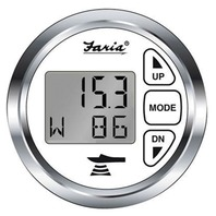 CHESAPEAKE DEPTH GAUGE WITH AIR AND WATER TEMP-Chesapeake White/SS Bezel w/Transom Mnt Transducer
