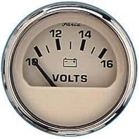 """EURO SERIES GAUGE, BEIGE/SS-2"""" Voltmeter, 10-16 VDC"""