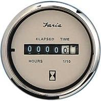 """EURO SERIES GAUGE, BEIGE/SS-2"""" Hourmeter, 10,000 hrs, 12-32 VDC"""
