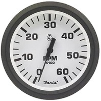 "EURO SERIES GAUGE, WHITE-4"" Tachometer, 6K, Gas Inboard & I/O"