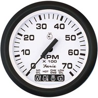 "EURO SERIES GAUGES, WHITE-4"" Tachometer, 7K w/ System Check"