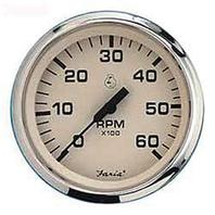 """EURO SERIES GAUGES, BEIGE/SS-4"""" Tachometer, 6K Gas Inboard & I/O"""