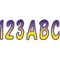 "FACTORY MATCHED REGISTRATION DECALS, SHADED-3"" Shaded Decal Set Yellow/Purple"