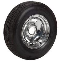 CHROME DIRECTIONAL WHEEL/BIAS TIRE & RIM-ST205/75D14; 5-Hole Rim; Load Range C