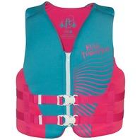 "FULL THROTTLE RAPID DRY VEST-Youth 24-29"", 50-90 lbs, Pink/Aqua Life Jacket"