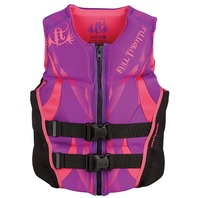 "FULL THROTTLE  LADIES  HINGED RAPID DRY FLEX-BACK VEST-X-Small 28-32"", Purple/Black"