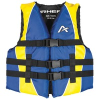 AIRHEAD CHILDREN'S NYLON Youth Vest, Blue/Yellow Life Jacket 50-90lbs. 26-29""