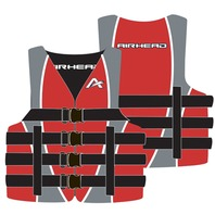 "AIRHEAD NYLON SKI VEST-Large/XL, Red Life Jacket 42-50"" Over 90 lbs."