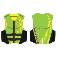 AIRHEAD SWOOSH NEOLITE SKI VEST, ADULT-XL NeoLite Vest, Lime Green Life Jacket