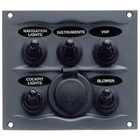 SPRAYPROOF SWITCH PANEL-5-Gang Panel, Gray, with 12V Power Socket