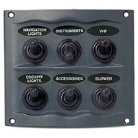 SPRAYPROOF SWITCH PANEL-6-Gang Panel, Gray