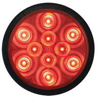 "4"" ROUND SEALED LED TAIL LIGHT KIT- w/Grommet and Pigtail, Red"