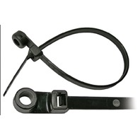 "BLACK NYLON CABLE TIE WITH MOUNTING HOLE-7-1/2""L, #10 Stud Mt, 50 lb Tensile Str., Pkg of 25"