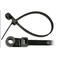 "BLACK NYLON CABLE TIE WITH MOUNTING HOLE-7-1/2""L, #10 Stud Mt, 50 lb Tensile Str., Pkg of 50"