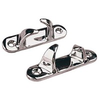 "SKENE BOW CHOCK, CHROME-3-3/8""L, 3/4""H, For 5/8"" Rope, Pair, Uses #10 Fasteners"