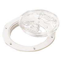 """SCREW OUT DECK PLATE-4"""" I.D.; White w/Clear Cover"""