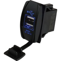 "ROCKER SWITCH STYLE -Dual USB Power Socket, Blue LED, 13/16"" x 1-7 /16"""
