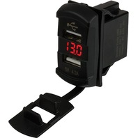 "DOUBLE USB ROCKER SWITCH STYLE VOLTMETER WITH HIDDEN DISPLAY-Dual USB Power Socket, Red DED Display, 13/16"" x 1-7 /16"""