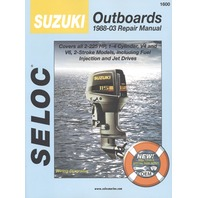 SIERRA SELOC MARINE ENGINE REPAIR MANUALS, SUZUKI-1988-2003, all 2-225 Hp, 1- 3-cyl. V4 & V6, 2-stroke incl. fuel injection& jet drives