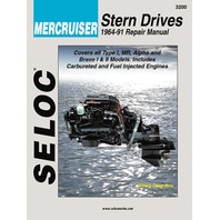 SIERRA SELOC MARINE ENGINE REPAIR MANUALS, MERCRUISER STERN DRIVE-1964-91, Type 1, Alpha/MR, Bravo I & II units by Ford & GM 4-cylinder, in-line 6, V6/V8