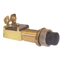 PUSH BUTTON SWITCHES, BRASS-Momentary On-Off W/Weather & Dust Proof Boot Nut, SPST