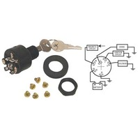 IGNITION SWITCH, 3-POSITION PUSH-TO-CHOKE-Off-Run-Start Switch, OMC #393301