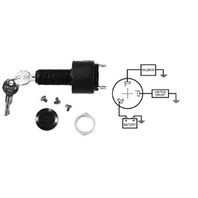 "IGNITION SWITCH, 3-POSITION WITH CAP-Off-Run-Start Switch w/3-1/4"" Blade Terminals"