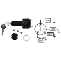 "IGNITION SWITCH, 4-POSITION WITH CAP-Acces.-Off-Run-Start, 4-1/4"" Blade Terminals"