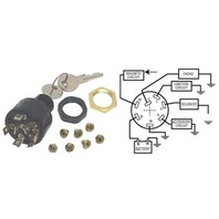 MERCURY IGNITION SWITCH, 4-POSITION PUSH-TO-CHOKE-Accessory-Off-On-Start Switch