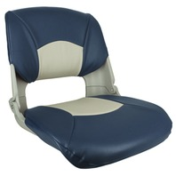 SKIPPER DELUXE MOLDED FOLD DOWN SEAT-Molded Seat w/Cushions, White/Blue