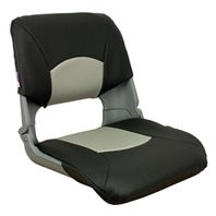 SKIPPER DELUXE MOLDED FOLD DOWN SEAT-Molded Seat w/Cushions, Gray/Charcoal